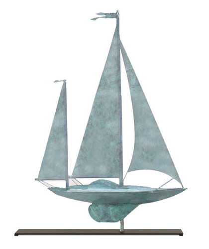 Yawl in Blue Verde Copper Mantel Weathervane