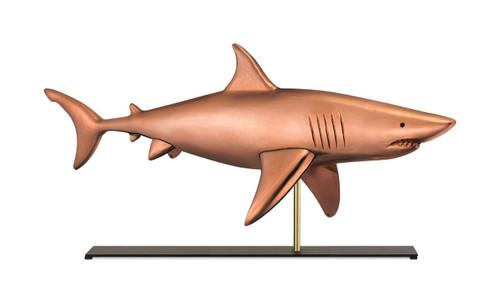 Shark in Pure Copper Mantel Weathervane