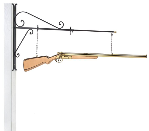 Hanging Shotgun Pure Copper Weathervane Sign with Decorative Bracket