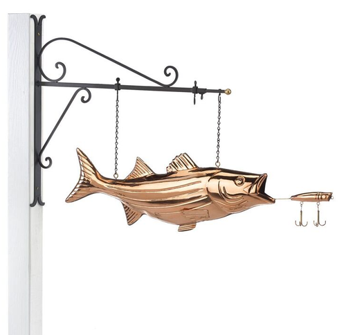 Hanging Bass with Lure Pure Copper Weathervane Sign with Decorative Bracket