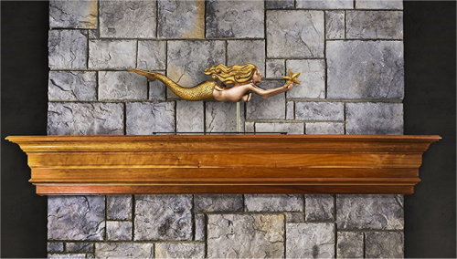 Mermaid with Starfish Pure Copper with Golden Leaf Finish Weathervane Sculpture on Iron Mantel Stand