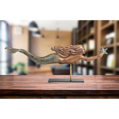 Mermaid Table Top Sculpture - Pure Copper Hand Finished Multi-Color Patina, Nautical Home Décor by Good Directions