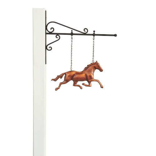 Galloping Horse Hanging Wall Sculpture - Pure Copper Hand Finished Bronze Patina by Good Directions
