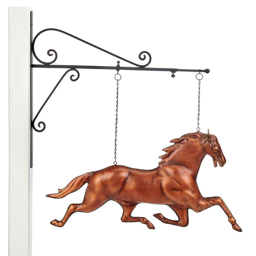 Horse Hanging Wall Sculpture - Pure Copper Hand Finished Bronze Patina by Good Directions