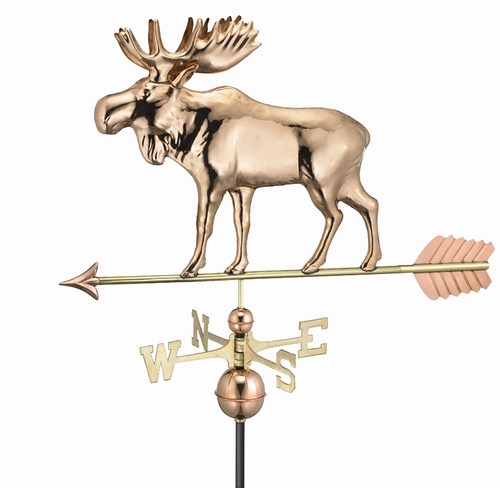 Moose Weathervane with Arrow - Pure Copper by Good Directions