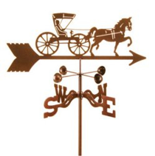 Horse Horse And Doctor Buggy Weathervane With Mount