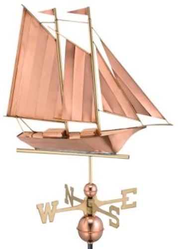 Good Directions Schooner Weathervane - Polished Copper