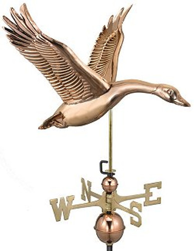 Good Directions Feathered Goose Weathervane - Polished Copper