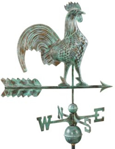 "Rooster Weathervane  by Good Directions 25"" - Blue Verde Copper"