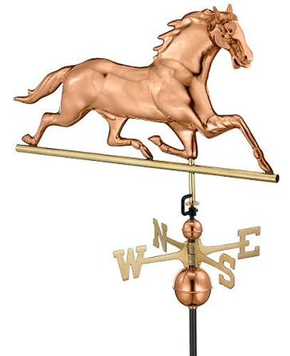 Good Directions Horse Weathervane - Polished Copper