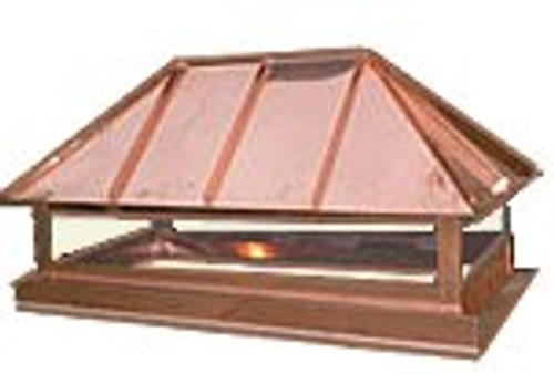 Copper Chimney Cap - Hip Roof Style 36 in. x 30 x 25H