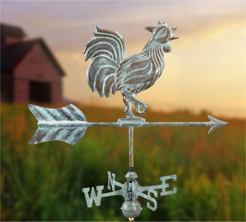 Rooster Weathervane by Good Directions - Copper Verde With Mount