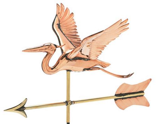 Weathervane - Polished - Cottage 3-D Heron W/ Arrow