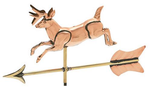 Weathervane - Polished - Cottage 3-D Jumping Deer w/ Arrow