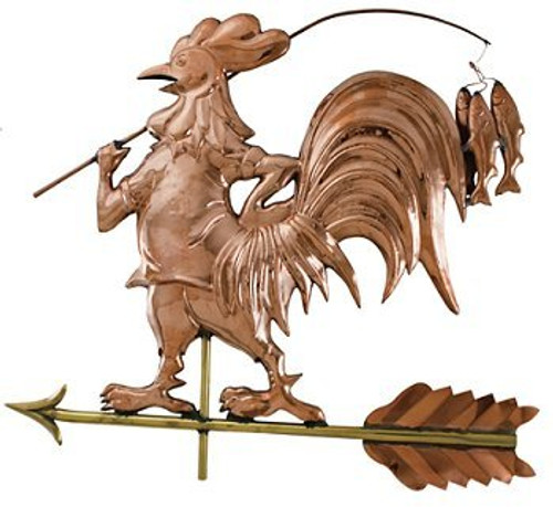 Fishing Rooster Weathervane - Polished