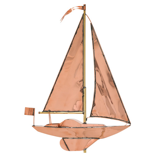 "Whitehall 19"" Copper Sailboat Weathervane - Polished"