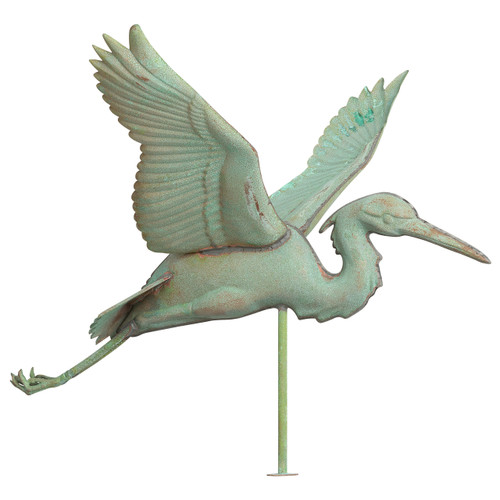 "Whitehall 26"" Copper Heron Weathervane - Verdigris"