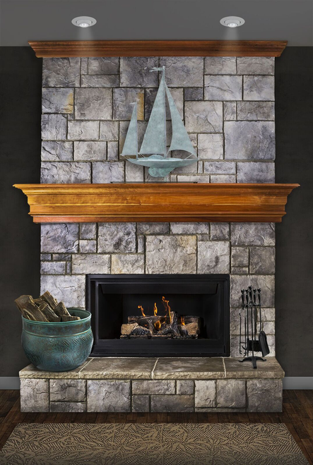 Yawl in Blue Verde Copper Mantel Weathervane