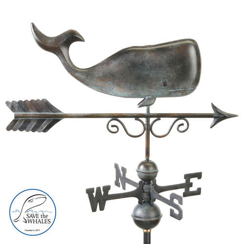 Save the Whales Weathervane - Pure Copper Hand Finished Patina by Good Directions