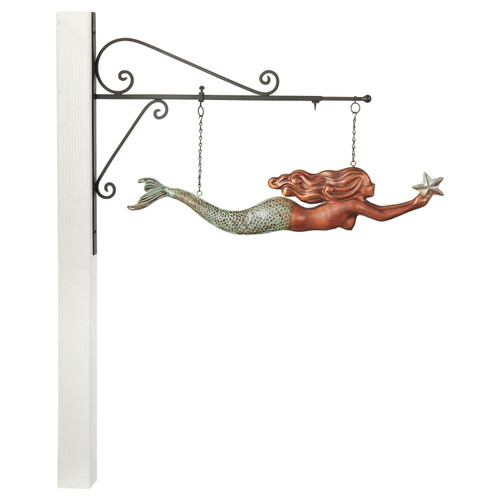 Mermaid Hanging Wall Sculpture - Pure Copper Hand Finished Multi-Color Patina by Good Directions