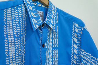 Nakeu Mens Aloha Shirt (Blue/White)