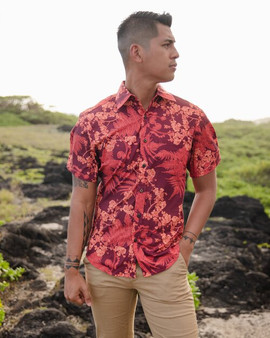 Hapuu Ilima Mauka to Makai Red Aloha Shirt