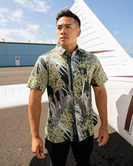 Hawane Forest Green Relaxed Fit Aloha Shirt