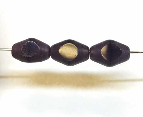7x5mm Deep Amethyst Tri-Cut Faceted Oval Fire Polish Beads (25)