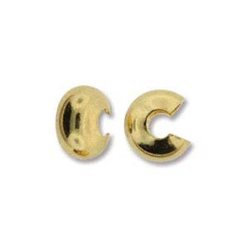 Crimp Bead Cover, Gold Plated, 6mm (Qty: 8)