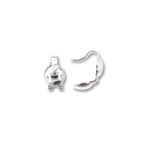 Clamshell, Sterling Silver, 3.5mm (Qty: 6)