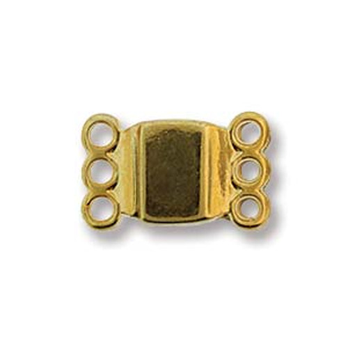 Small Magnetic Clasp, 3 strand, Gold Plated, 13.7 x 8.6mm (Qty: 1)