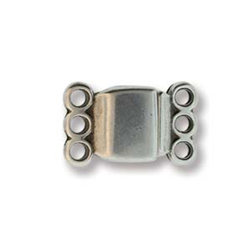 Small Magnetic Clasp, 3 strand, Antique Silver Plated, 13.7 x 8.6mm (Qty: 1)
