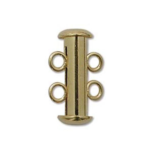 2-Strand Slide Clasp, Gold Plated, 16mm (Qty: 1)