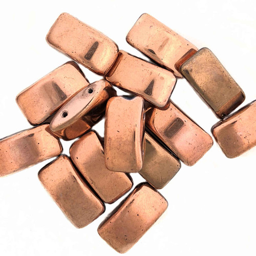 Carrier Beads, Czech Glass, 2-hole, Capri (Qty. 15)