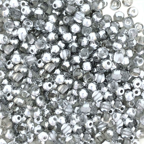 3mm Round Glass Beads, Crystal Labrador Half Coat (Qty: 50)
