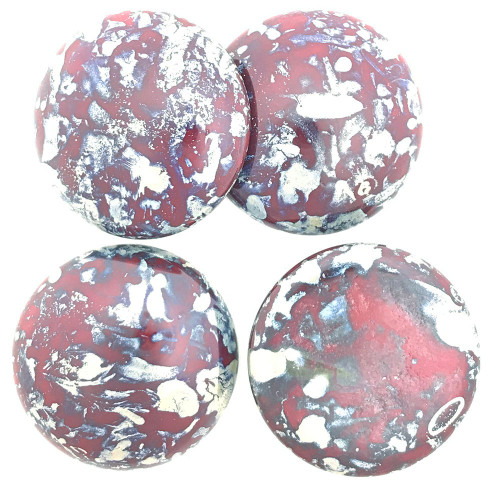 Czech Glass Cabochon, Dark Red Picasso, 25mm (Qty: 1)