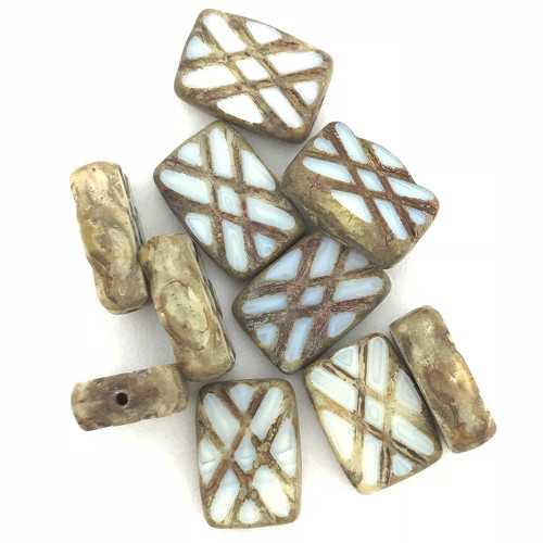 Table Cut Crisscross Rectangle, Milky White Picasso, 12x8mm (Qty: 10)