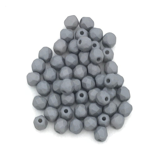 4mm Fire Polish, Saturated Grey (Qty: 50)
