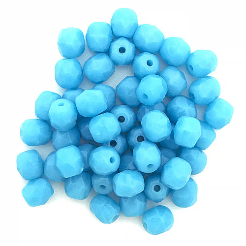 4mm Fire Polish, Opaque Turquoise Blue (Qty: 50)