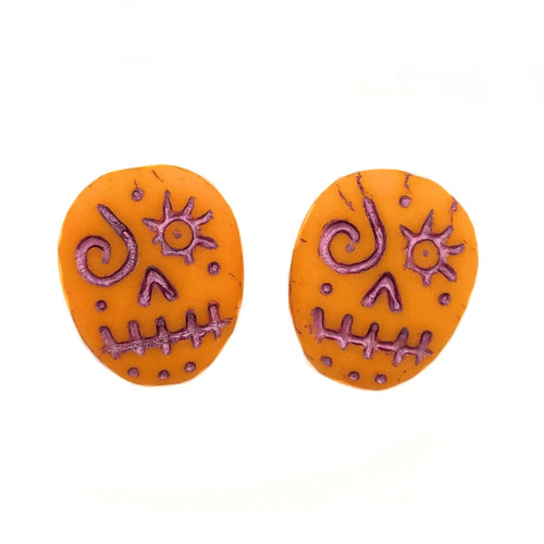 Glass Sugar Skulls, Orange/Pink (14 x 17mm) (Qty: 2)