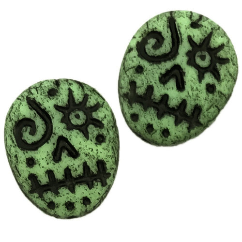 Glass Sugar Skulls, Green/Black (14 x 17mm) (Qty: 2)