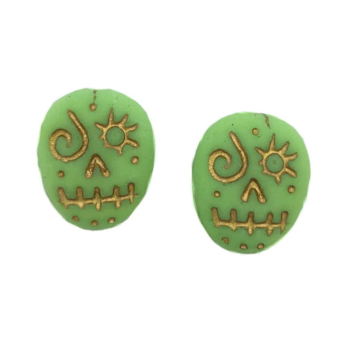 Glass Sugar Skulls, Green/Gold (14 x 17mm) (Qty: 2)