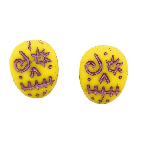 Glass Sugar Skulls, Yellow/Pink (14 x 17mm) (Qty: 2)