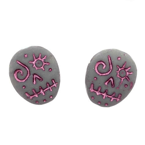 Glass Sugar Skulls, Grey/Pink (14 x 17mm) (Qty: 2)