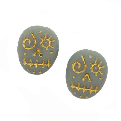 Glass Sugar Skulls, Grey/Gold (14 x 17mm) (Qty: 2)