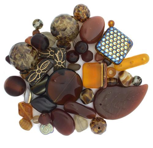 Czech Glass Bead Mix, Toffee (60 gr.)