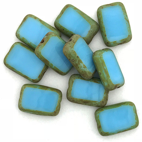 Table Cut Rectangle, Blue Turquoise Travertine, 12x8mm (Qty: 10)