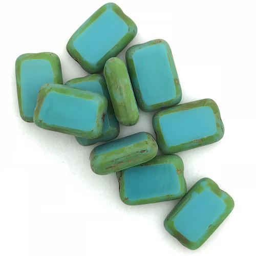 Table Cut Rectangle, Green Turquoise Travertine, 12x8mm (Qty: 10)