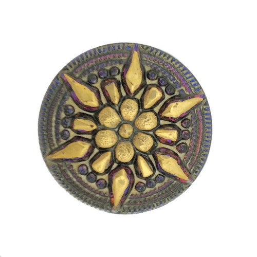 (27mm) Star, Blue/Purple Iridescent w/ Gold Paint