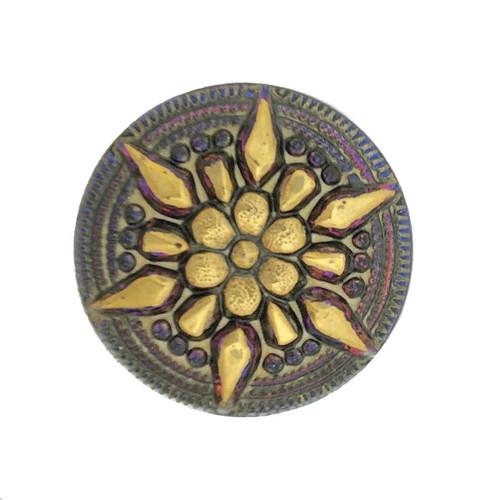 (27mm) Star Button, Blue/Purple Iridescent w/ Gold Paint